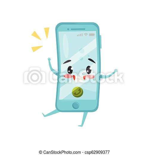 Blue humanized mobile phone with incoming call. Ringing smartphone. Cartoon character with happy face. Flat vector icon - csp62909377