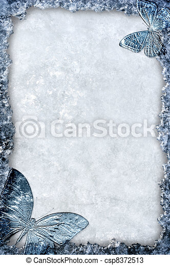 Blue ice frame with butterflies background - csp8372513