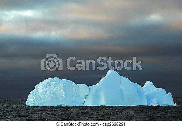 Blue iceberg with dark sky - csp2638291