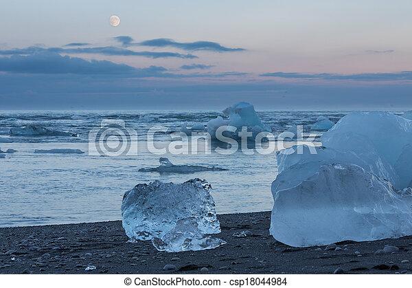 blue icebergs in the beach - csp18044984