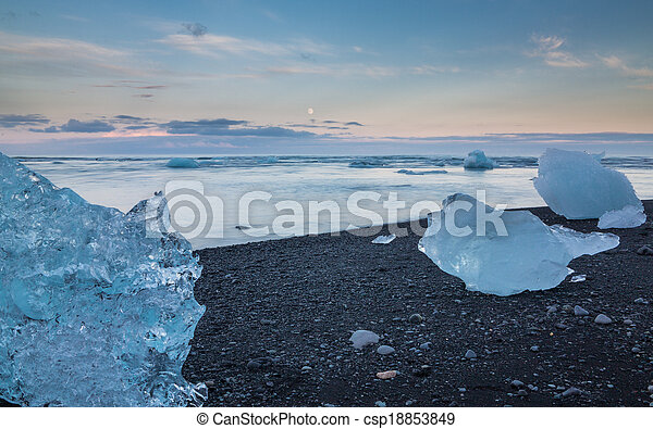 blue icebergs in the beach - csp18853849