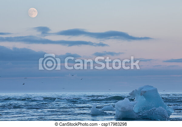 blue icebergs in the beach - csp17983298