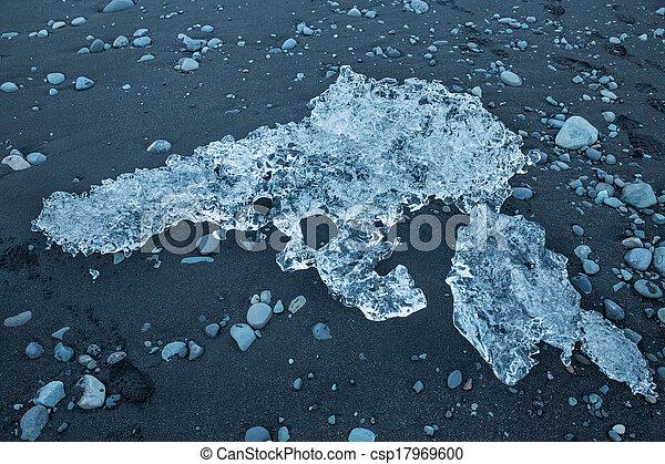 blue icebergs in the beach - csp17969600