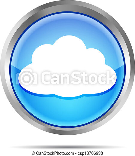 blue icon with cloud on a white - csp13706938