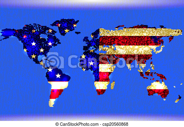 Blue illustrated world map abstract texture lines american blue illustrated world map abstract texture lines american flag csp20560868 gumiabroncs Image collections