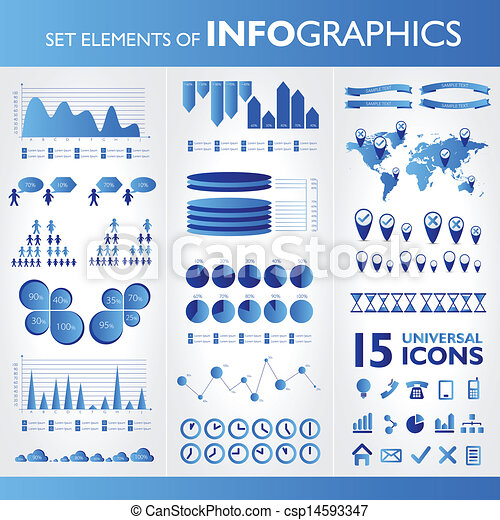 Blue infographics. Universal vector icons set. Statistic. - csp14593347