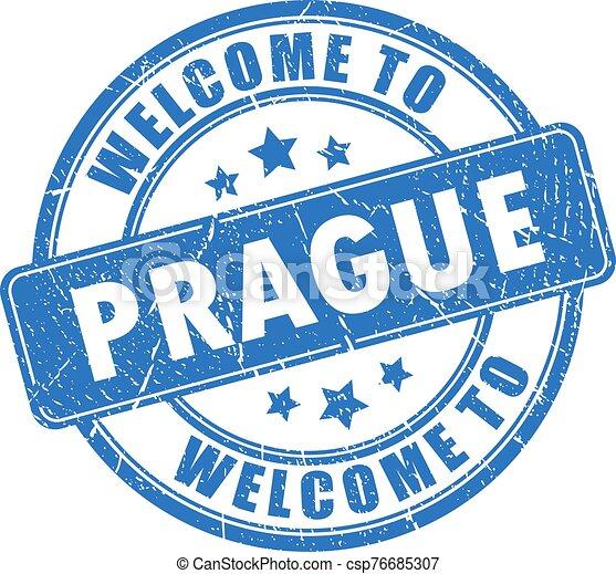 Blue ink stamp Welcome to Prague - csp76685307