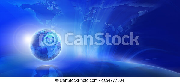 Blue internet background (Global and Communication concept)  - csp4777504