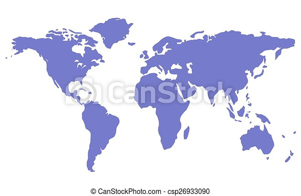 Blue isolated world map silhouette on white background blue isolated world map silhouette csp26933090 gumiabroncs Image collections