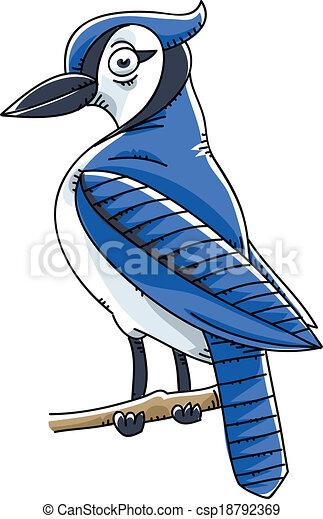a cartoon blue jay bird perched on a twig clip art vector search rh canstockphoto com blue jays logo clip art blue jay bird clipart