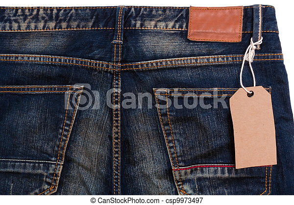 blue jeans detail blank tag paper jeans label on white background