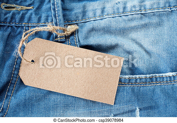 Blue jeans with blank tag - csp39078984