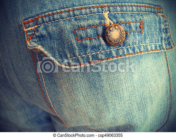 Blue jeans with pockets close-up - csp49063355