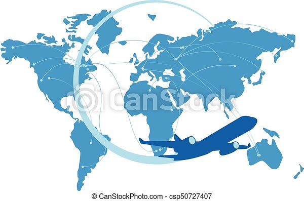 Blue jet airplane silhouette with map of the world behind - csp50727407