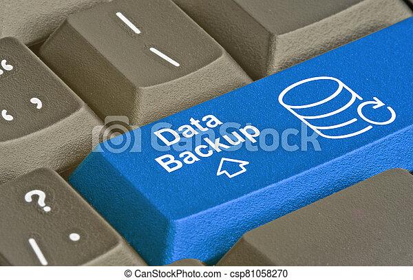 Blue key for data backup - csp81058270