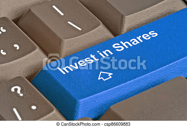 Blue key for investment strategy - csp86609883