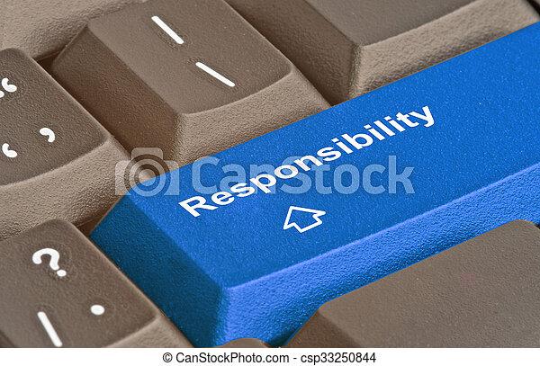 Blue key for responsibility - csp33250844