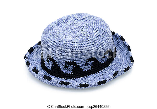 Blue knitted wool hat isolated on white background - csp26440285
