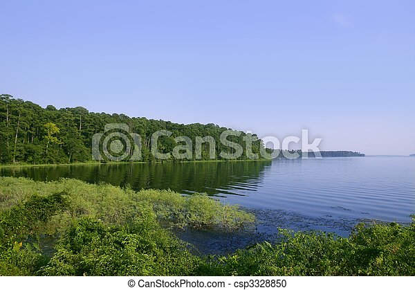 Blue lake landscape in a green Texas forest view, nature - csp3328850