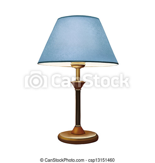 Blue Lampshade Bedside Lamp Decorative Table Stock Illustration