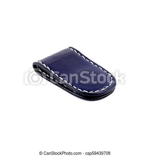Blue leather money clip - csp59439708