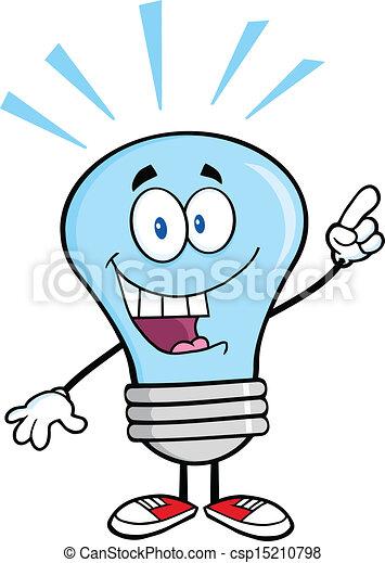 Blue Light Bulb With A Bright Idea - csp15210798