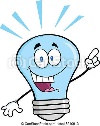 Blue Light Bulb With A Bright Idea - csp15210913