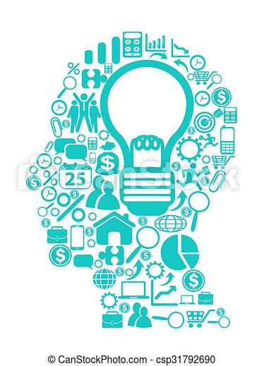blue light bulb with icons in head - csp31792690