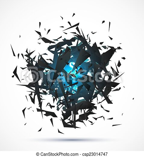 Blue light explosion of black particles on white background - csp23014747