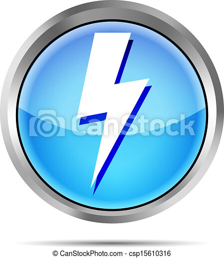 blue lightning icon on a white - csp15610316