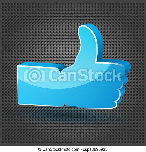 "blue ""Like"" symbol on the metallic background  - csp13696935"