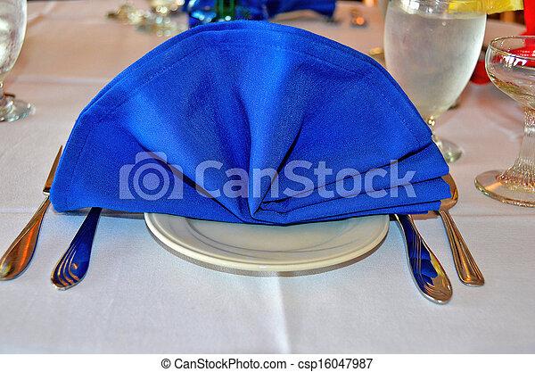 blue linen napkin - csp16047987