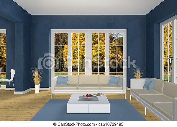 Blue Living room and autumn park - csp10729495