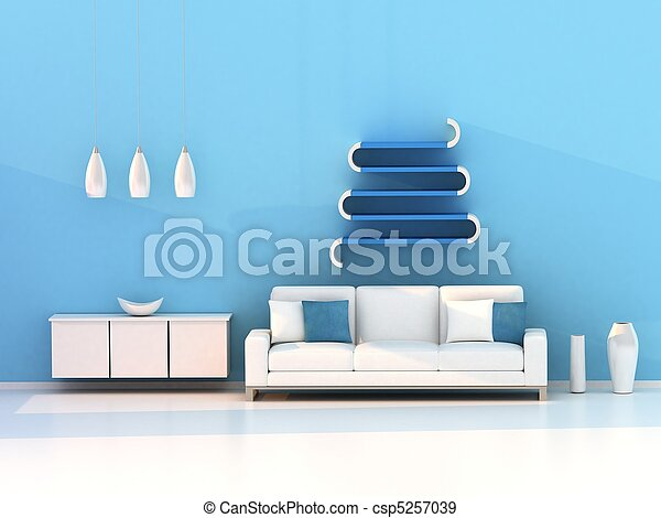 blue living room, modern room - csp5257039
