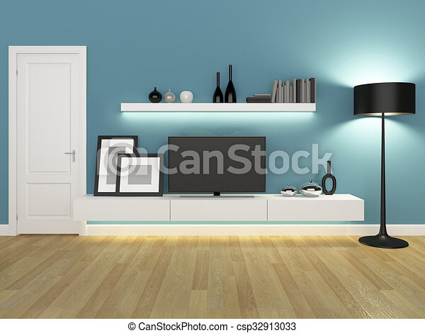 Blue Living Room With Tv Stand And Bookcase Rendering Canstock