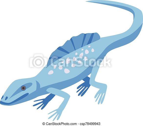 Blue lizard icon, isometric style - csp78499943
