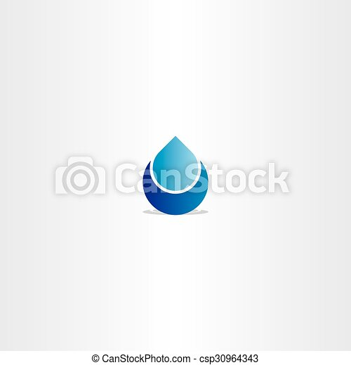 blue logo drop water icon sign - csp30964343