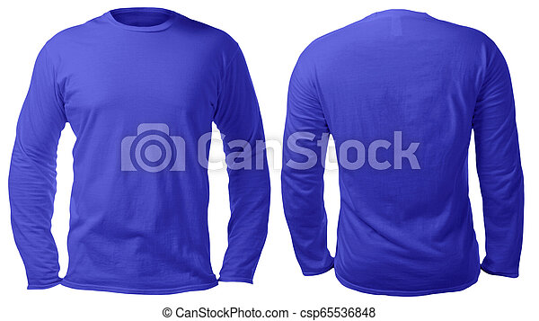 Blue Long Sleeved Shirt Design Template Blank Long Sleeved Shirt Mock Up Template Front And Back View Isolated On White