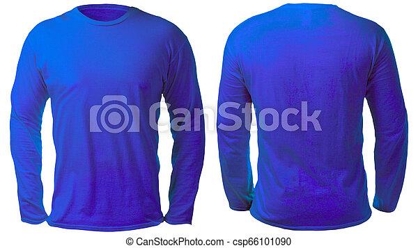 b287b803f83d Blue long sleeved shirt design template. Blank long sleeved shirt ...