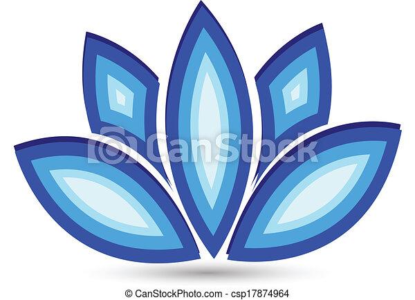Blue lotus flower vector logo - csp17874964