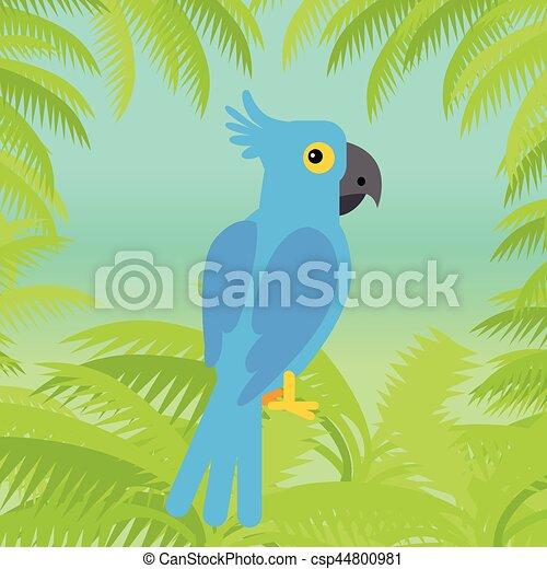 Blue Macaw Parrot Vector Flat Design Illustration - csp44800981