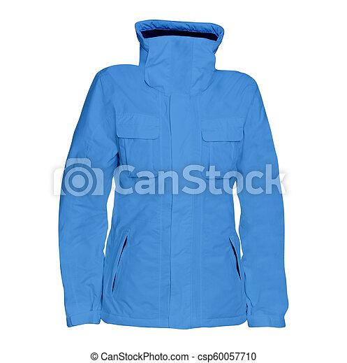 Blue male winter jacket isolated on white background - csp60057710