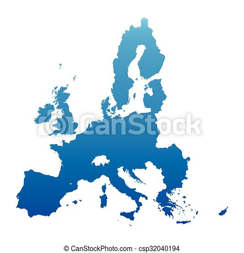 blue map of European Union - csp32040194
