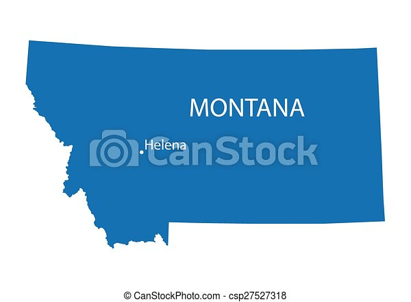 Blue map of montana with indication of helena.