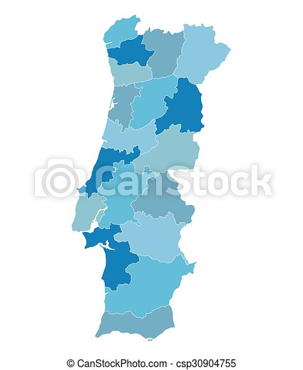 blue map of portugal districts on separate layers