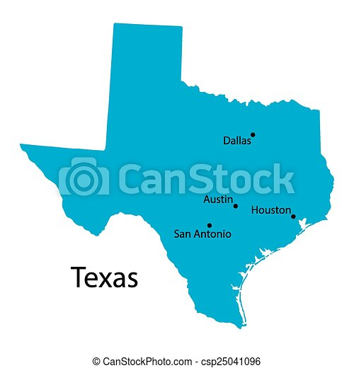 Map Of Texas Largest Cities.Blue Map Of Texas