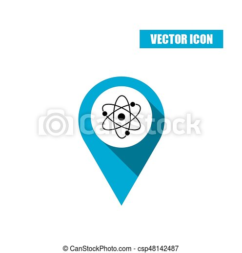 Blue map pin with atom icon isolated on white background - csp48142487