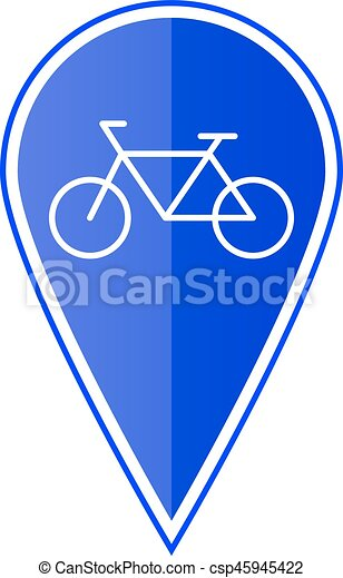 Blue map pointer with bicycle. Vector illustration - csp45945422