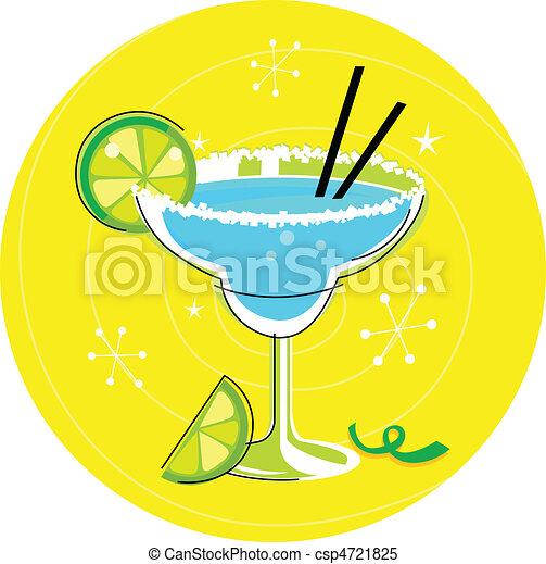 Blue Margarita cocktail on yellow - csp4721825