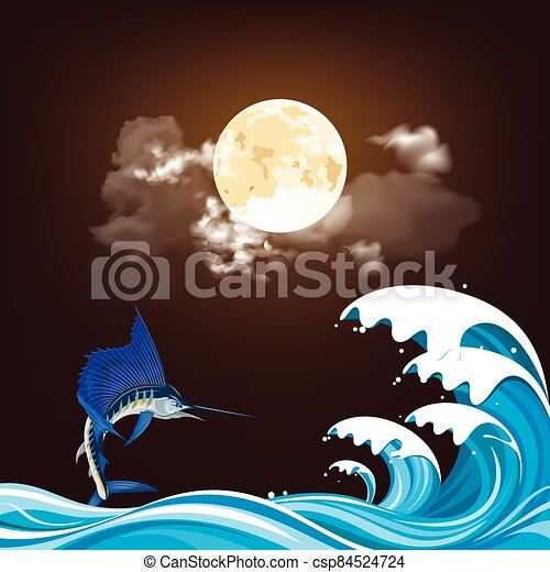 Blue Marlin fish at night - csp84524724